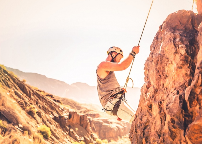 Escalada en un barranco en Gran Canaria
