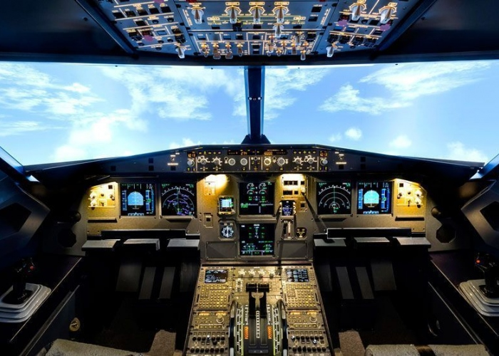 Flight simulator inside a real fuselage of an Airbus A320
