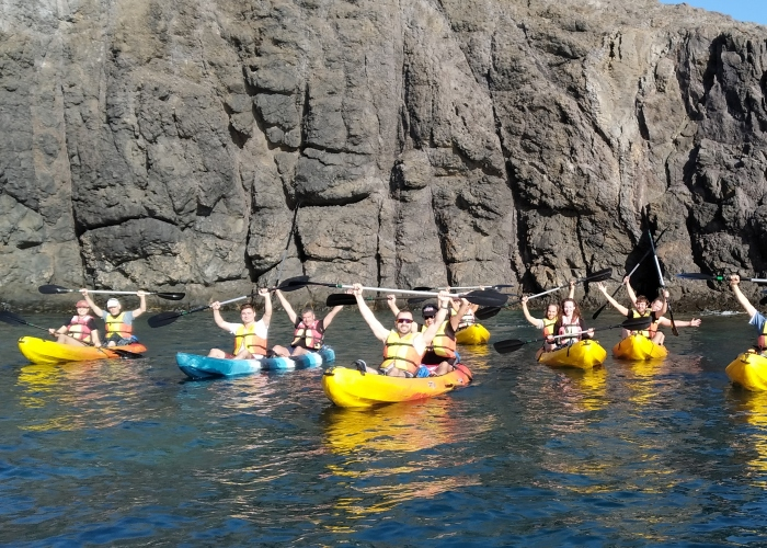 Kayaking and snorkelling in the crystal clear waters of Lanzarote